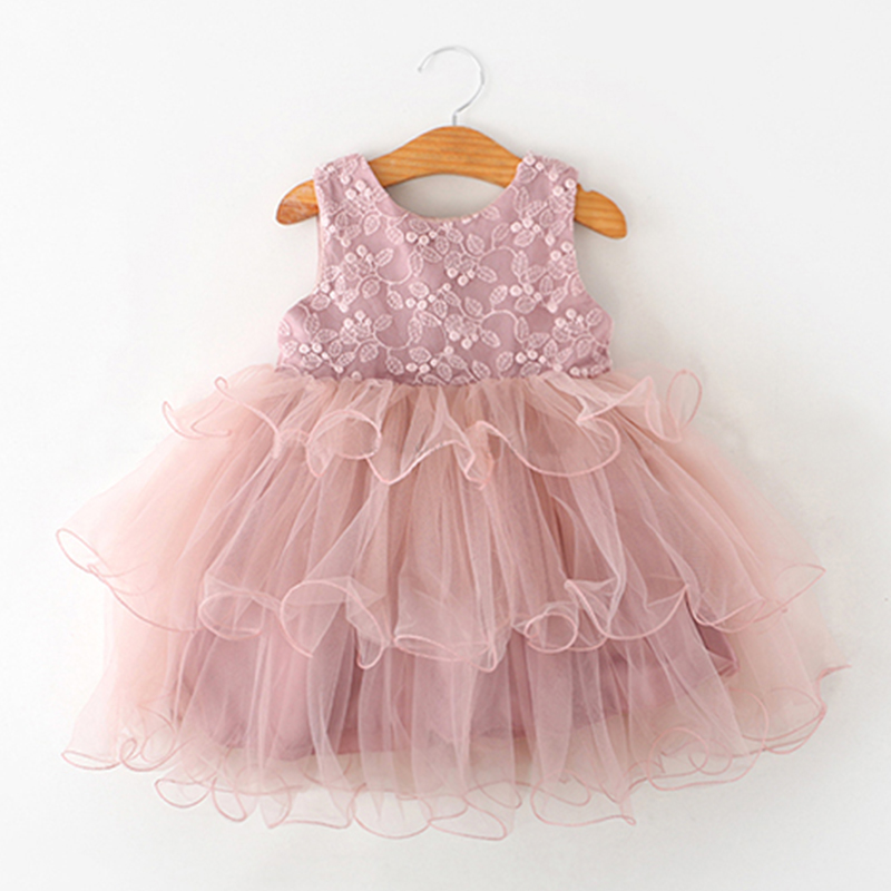 Lace Little Princess Dresses Summer Solid Sleeveless Tulle Tutu Dresses For Girls 2 3 4 5 6 Years Clothes Party Pageant Vestidos