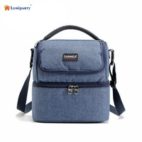 SaiDeng 7L Lunch Box Bag Oxford Cloth Portable Double Layers Insulated Thermal Cooler Travel Work School