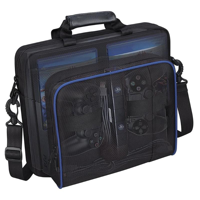 Portable Shoulder Bag for PS4 Game Consoles Large Capacity Travel Carrying Case Box for PlayStation 4/Game CD/HDMI/USB Cable