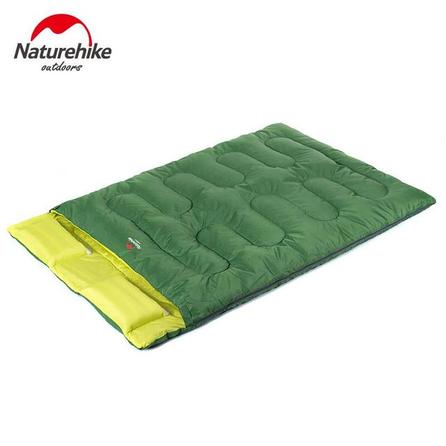 Naturehike Double Sleeping Bag Adult Envelope Filling Cotton Autumn Winter Outdoor Camping Tourism Sleeping Bag With Pillow