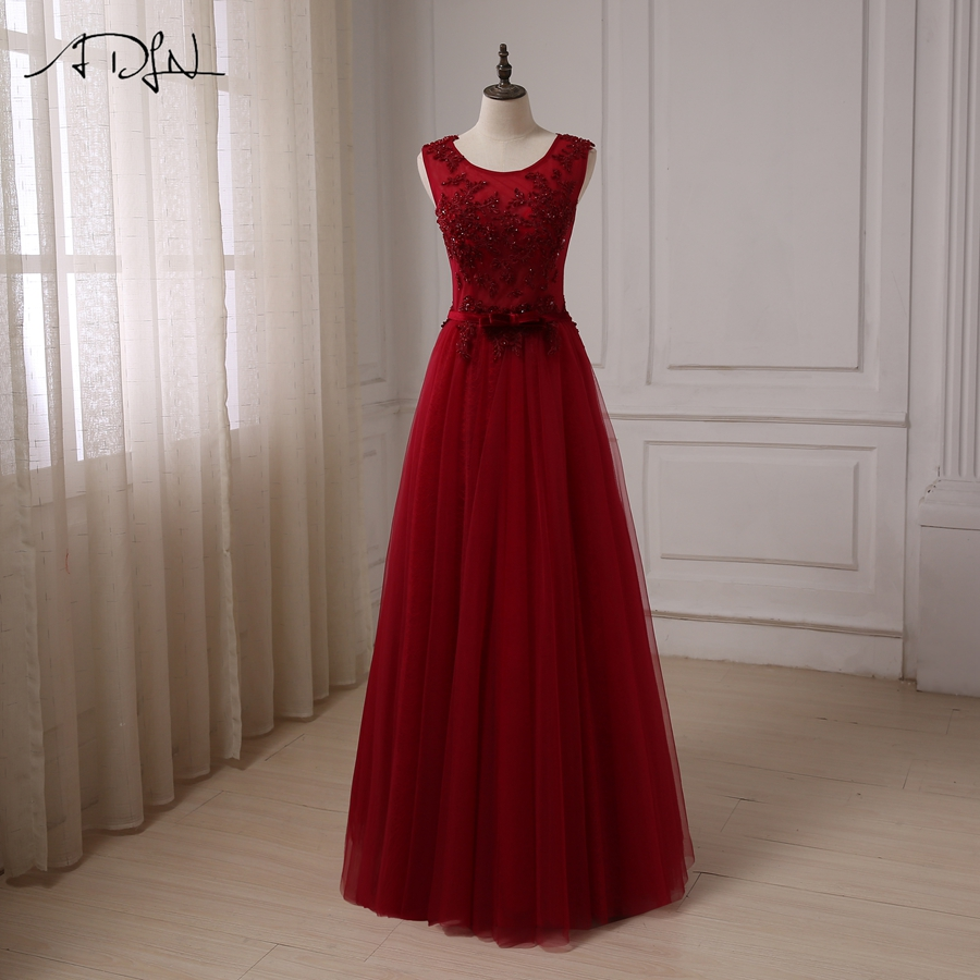 ADLN Burgundy Prom Dresses Cap Sleeve Applique Beaded Sequin Tulle A-line Formal Party Dress Robes De Soiree with Bow