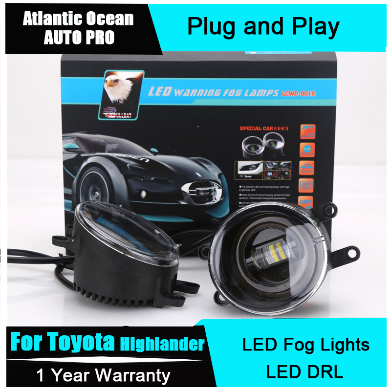 AUTO PRO Car Styling For Toyota Highlander led fog lights+LED DRL+turn signal lights LED Daytime Running Lights LED fog lamps car styling fog lights for toyota camry 2012 2014 pair of 12v 55w front fog lights bumper lamps daytime running lights