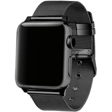 LEONIDAS milanese loop for apple watch Series 3 2 1 replacement bracelet band iwatch stainless steel strap buckle with connector