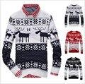 Новый 2016 Fahion зима теплая шерсть вязаные мужские уродливые рождественский олень свитер v-образным вырезом с длинным рукавом оленей пуловер трикотаж M-XXL