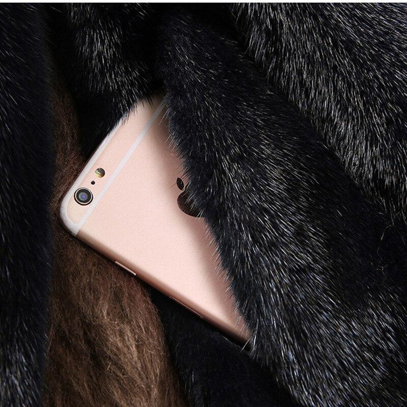 Dames Haute 2018 Noir Et Chapeau Nouvelle Manteau Imitation Longues Fourrure De Vison 5fSTS6q0n