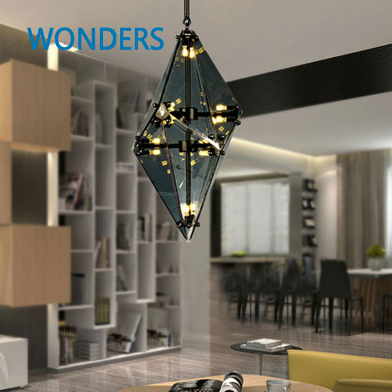 Modern luxury glass diamond shape pendant lamp restaurant hotel clubs cafe pub shop  exhibition fair shining crystal drop lights british snooker billiard lamp senior clubs casino card room lamp cradle pendant lights wwy 0431
