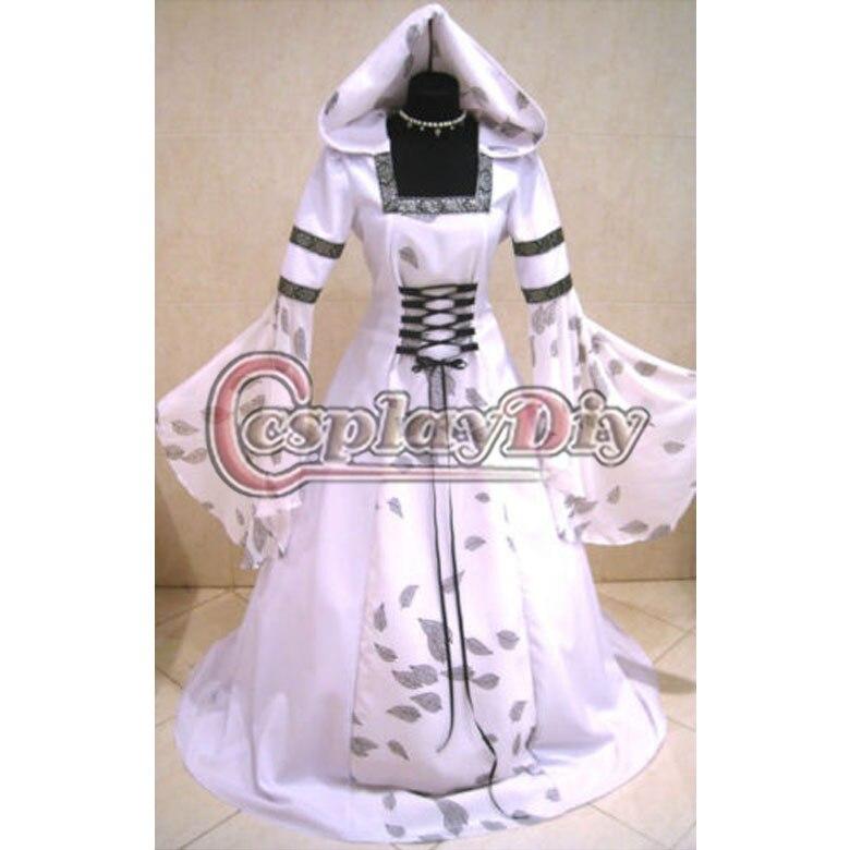 Por Encargo Rnaissance Medieval Gótico Victoriano Vestido de Boda Wicca Larp Goth Del Partido Del Traje