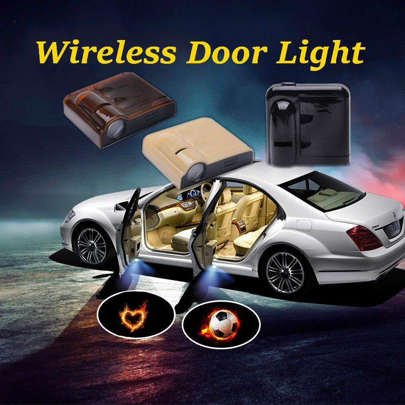 For Mitsubishi 2pcs  Wireless Car Door Logo Ghost Shadow Welcome Light Auto LED Projector Free Shipping