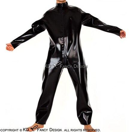 Nero Sexy Allentato Catsuit del Lattice Con Maniche Lunghe sexy Anteriore Al Biforcazione Zip Tuta di Gomma Generale Zentai Del Corpo Vestito LTY-0064