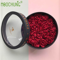 MOOCHUNG Silk Rose Flower Gift Box with Clear Plastic Window For Weddings Anniversaries Valentine's Day 20pcs Red Roses included