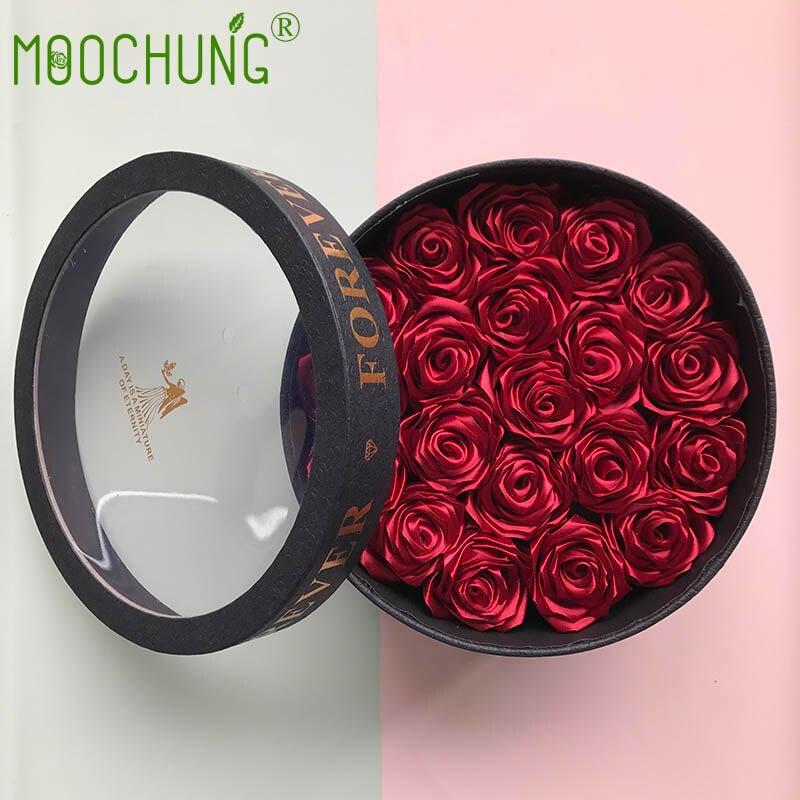 MOOCHUNG Soie Rose Fleur Cadeau Boîte avec Fenêtre En Plastique Transparent Pour Les Mariages Anniversaires Saint-Valentin 20 pièces Roses Rouges inclus