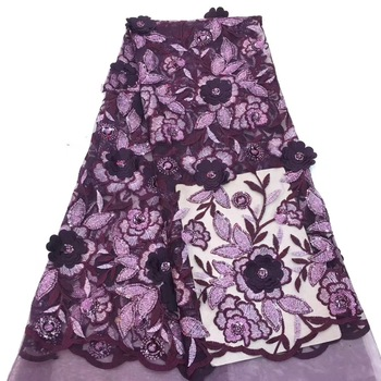 Sequined lace purple embroidered wedding bridal lace, African tulle lace fabric quality net CD2903