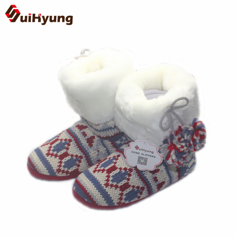 Suihyung New Women Indoor Shoes Winter Warm Knitting Fleeces Home Slippers Ladies Flock Casual Slip-on Plush Flat Cotton Botas suihyung new funny animal prints flock home slippers women winter warm indoor floor shoes flat cotton shoes short plush slip on