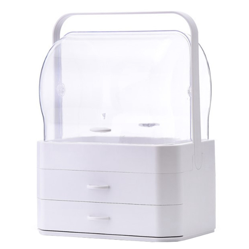 Portable Waterproof Make Up Cosmetic Box Dust Cover Box Organizer Drawers Plastic Cosmetic Storage Box Jewelry Container Indoo(China)