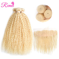 Malaysian 613 Blonde Kinky Curly Hair Bundles With Frontal Closure Ear To Ear Front With 3 Bundles Blonde Weave Remy Hair Rcmei
