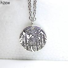 hzew Lovely Pine Tree cabin scene moon the mountain necklace camping jewelry simple life Gifts for Campers
