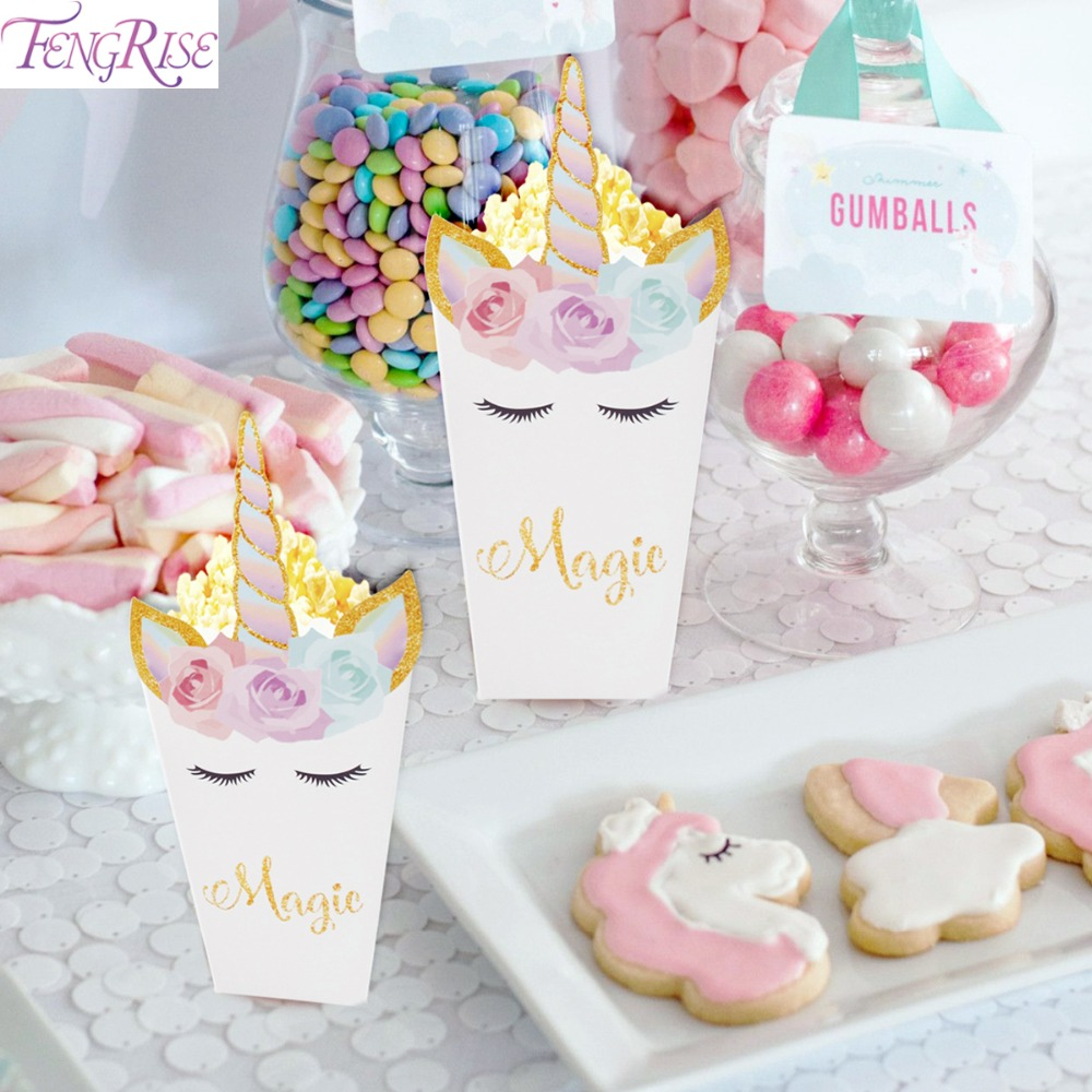 FENGRISE 6pcs Unicorn Party Popcorn Boxes DIY Birthday Party Decoration Unicorn Theme Party Popcorn Bags Baby Shower Kids Favors
