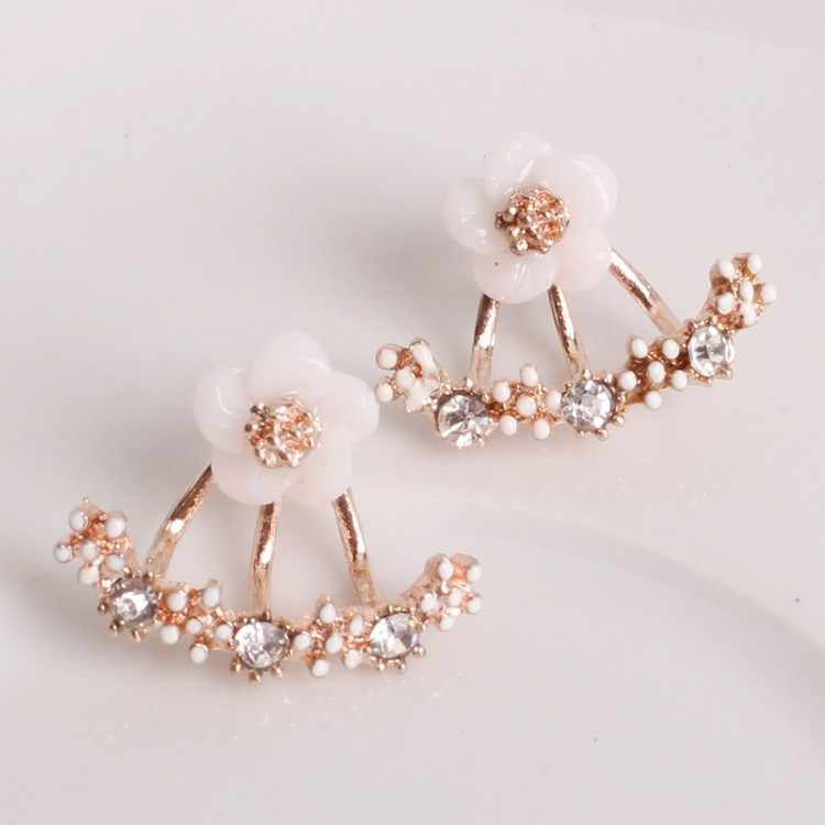 The New Flower Crystals Stud Earring For Women Rose Gold Color Double Sided Fashion Jewelry Earrings Female Ear Brincos Pending