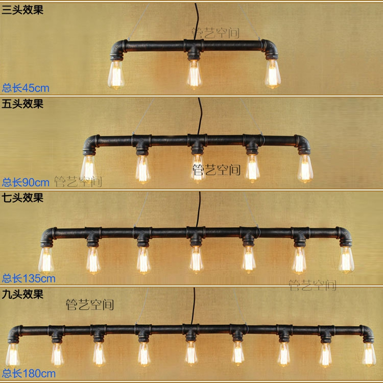 Fashion personalize Water pipes 3/5/7/9 heads retro Pendant Lights bedroom study office cafe bar lamp Pendant lamps za light european garden pendant lights light three head restaurant study bedroom bar lighting pendant lamp 1 3 heads za