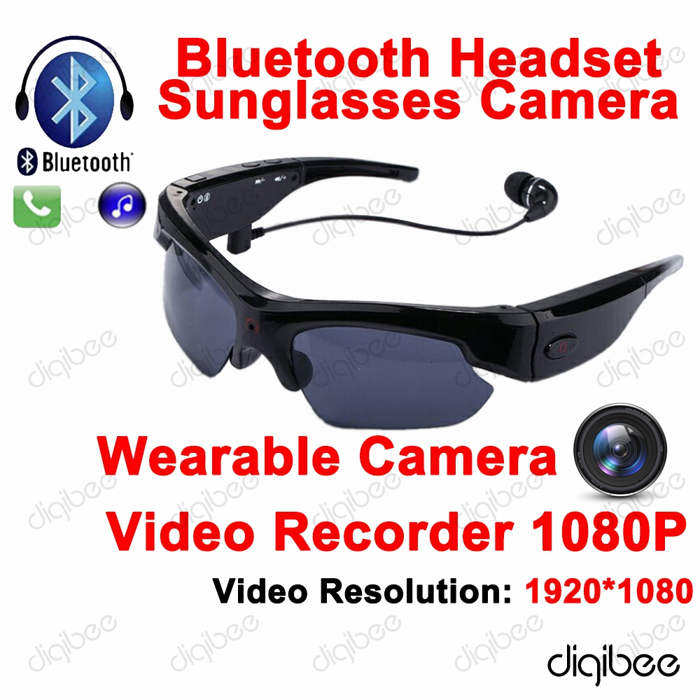 Multi-Function Smart Glasses Sunglasses Camera HD 1080P Digital Video Recorder Bluetooth 4.0 Headset with Microphone Mini DV DVR bullet camera tube camera headset holder with varied size in diameter