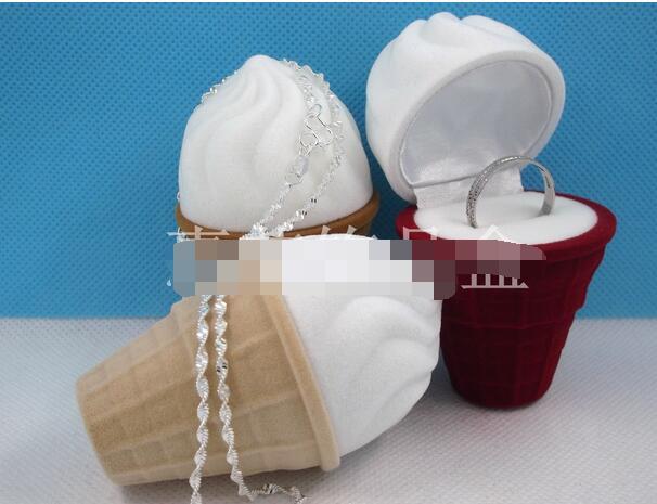 100pcs/lot fedex fast free shipping New Velvet Ice Cream Wedding Earring Ring Pendant Jewelry Display Box Gift