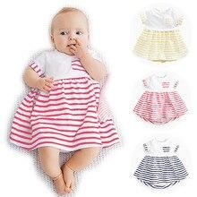 0 — 2 годы новорожденного девочки младенец цельный фрок дизайн хлопок полосой малыша Bebes одежду дети одеваются