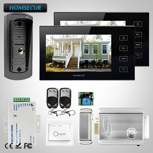 HOMSECUR 7 Wired Video&Audio Smart Doorbell+Black Monitor for House/Flat TC041 Camera+TM704-B Monitor