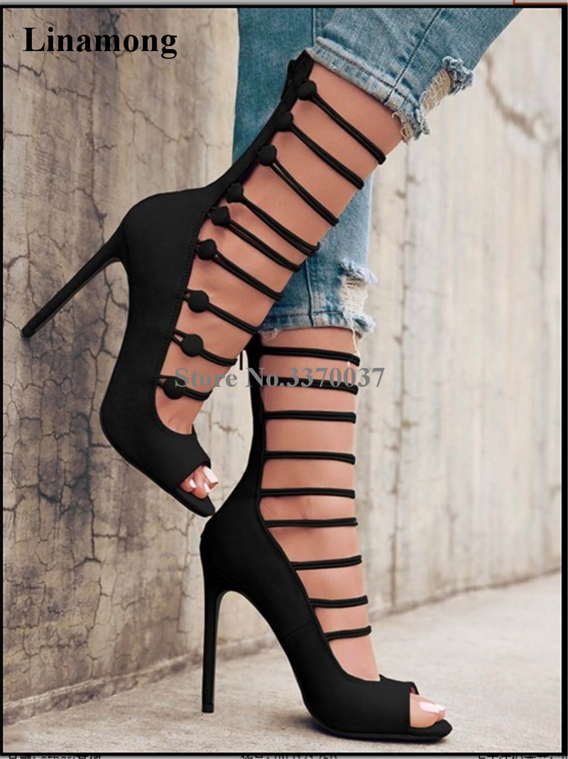 New Fashion Women Open Toe Suede Leather Strappy Gladiator Sandals Cut-out Back Zipper-up High Heel Sandals Dress Shoes strappy ombre back zipped bodycon dress