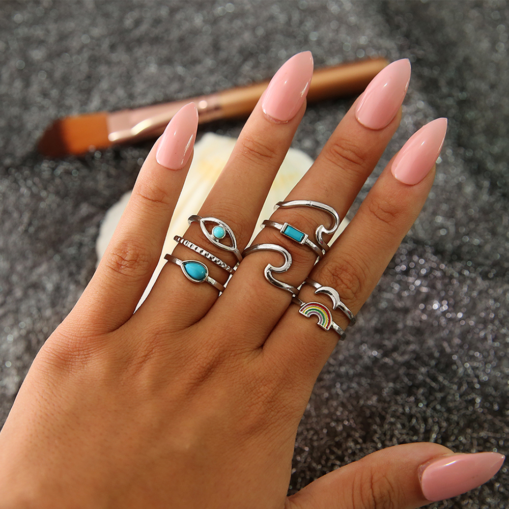 8 Pcs/set Bohemian Retro Gem Moon Eyes Wave Geometric Silver Ring Set Women Personality Party Jewelry Accessories Skillful Manufacture