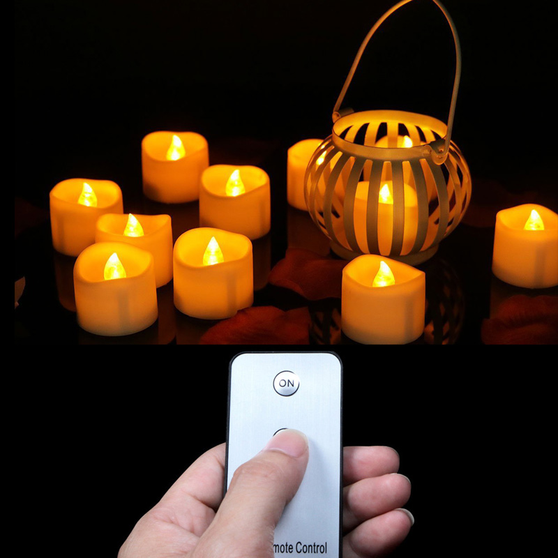 Pack of 6 or 12 Flickering Yellow Christmas Candles with Remote,White Battery LED Candles Anniversary,Valentines Day Candles