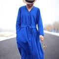 Повседневная Женщин V шеи Сплошной Цвет Однобортный Dress Весна Новый Хлопок Белье Dress для женщин Дамы старинные Платья