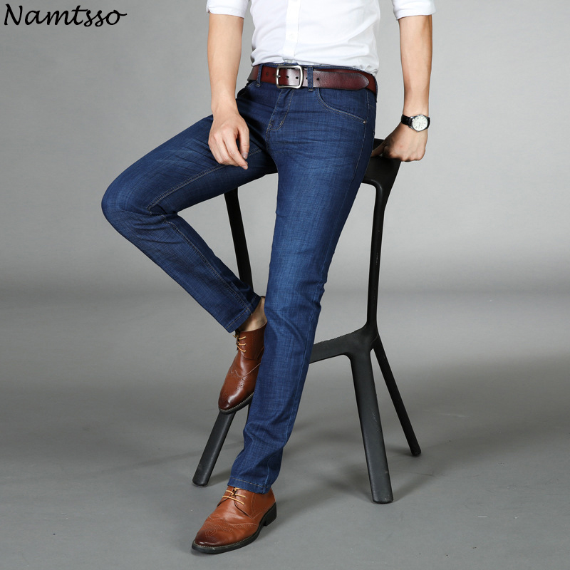 2018 Spring Mens Thin Jeans Fashion Comfort Slim Stretch Straight Business Jeans Youth Mens Trousers