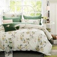 2019 Scandinavia Flowers Beige Duvet Cover Set Twin Queen King Flat Sheet or Fitted Sheet Cotton Bedlinens Pillowcases