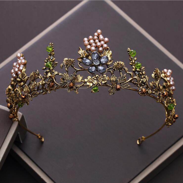 KMVEXO Barock Vintage Gold Kristall Blumen Perlen Tiaras Strass Königin Kronen Hochzeit Haarschmuck Luxus Stirnband Diadem