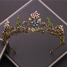 KMVEXO Baroque Vintage Gold Crystal Flowers Beads Tiaras Rhinestone Queen Crowns Wedding Hair Accessories Luxury Headband Diadem