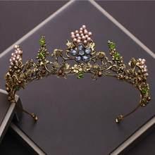 KMVEXO-Tiaras con cuentas de cristales y flores, diademas barrocas con abalorios y cristales, accesorios para el pelo, de color dorado envejecido