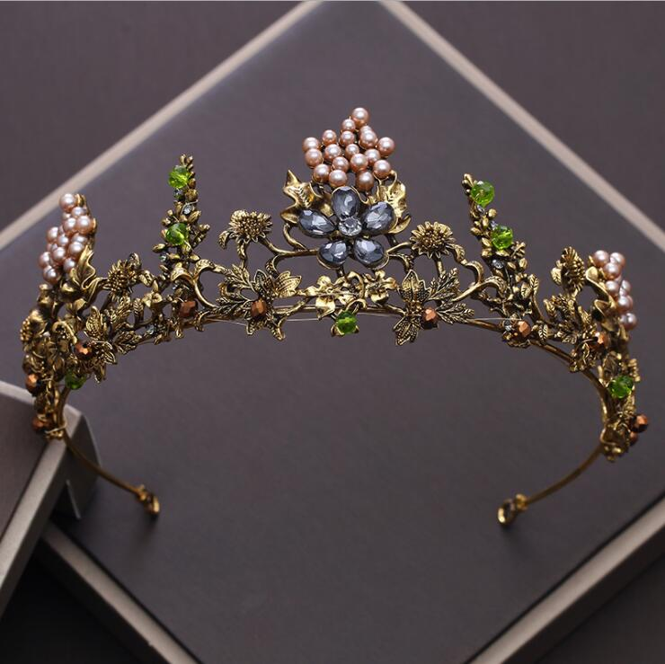 KMVEXO barroco Vintage Gold Crystal Flowers Beads Tiaras Rhinestone reina coronas boda accesorios para el cabello diadema de lujo diadema