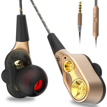 Купить с кэшбэком 3.5mm Wired Headphones High Bass Dual Drive stereo In-Ear Earphones with Microphone Computer Earbuds for phone fone de ouvido