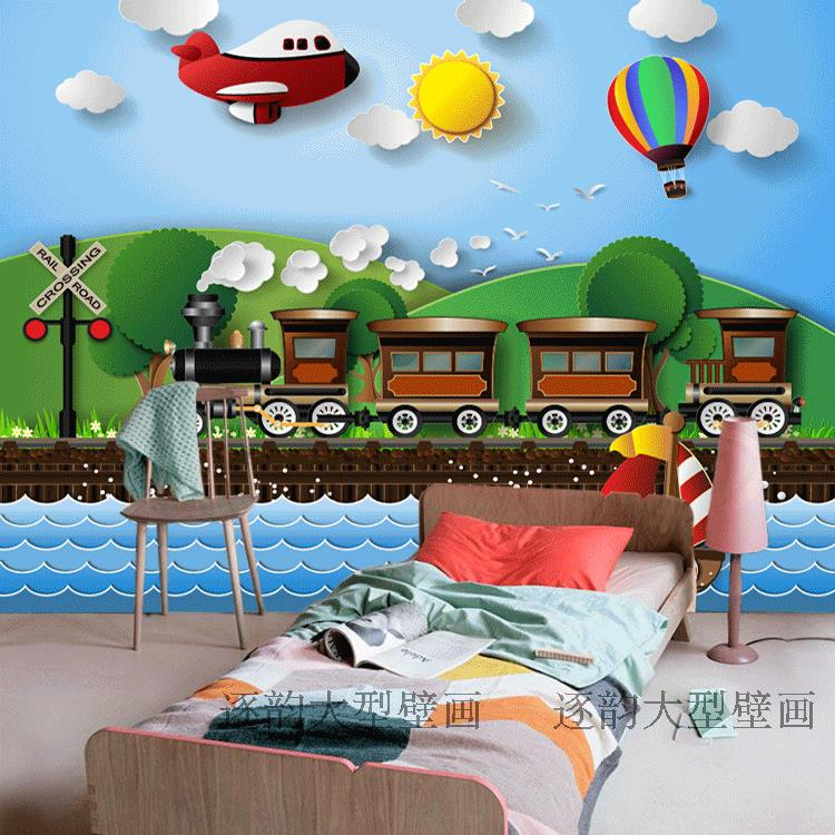 Free Shipping Custom Wallpaper Cartoon Children Room 3D