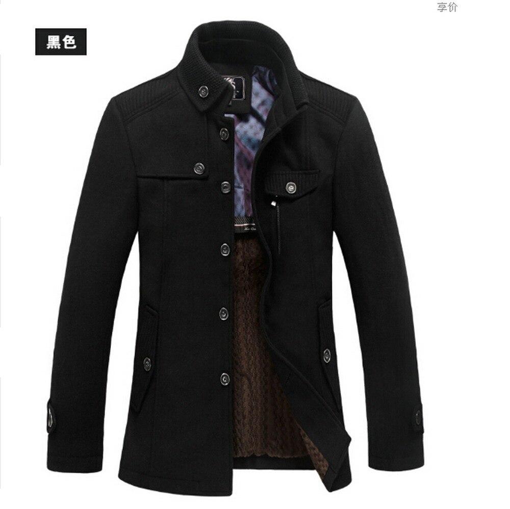 New Style Winter Mens Warm Fleece Blazer Wool Military Coat Jacket Grey Black In Jackets From