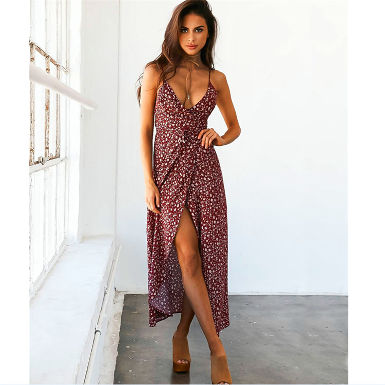 Yollmart Summer Floral Print Split Grace Long <font><b>Dress</b></font> Women <font><b>Sexy</b></font> Beach <font><b>Deep</b></font> <font><b>V</b></font> Neck <font><b>Sexy</b></font> <font><b>Dress</b></font> Eleagnt Sling Mid-Calf <font><b>Dresses</b></font> image