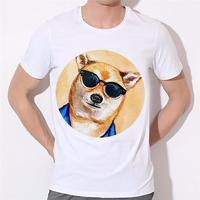 New Arrival Dogs T Shirts 3d t shirt Man Lovely dogs cartoon printed t-shirts with a pair of glasses Mens T-Shirt Tees B-134#