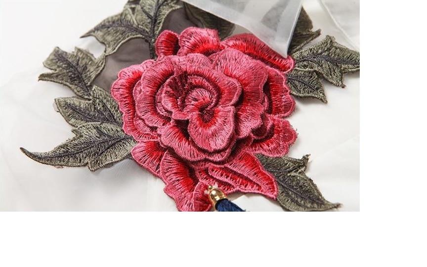 2017 baru musim semi dan musim panas blus blusa bordir bunga organza - Pakaian Wanita - Foto 5