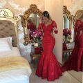 2017 Charme Red Mermaid Lace Evening Vestidos de Manga Comprida V Neck Vestido de Noite Formal Frisado Formal Prom robe de soiree