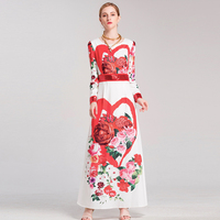 New 2018 Spring Full Sleeve Floral Print Sequins Button Slim Empire Long Boho Dress Designer Maxi