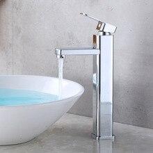 Высокая плакировка четверка одно отверстие горячей и холодной воды кран сценический смеситель Смешанная вода Ванная раковина кран