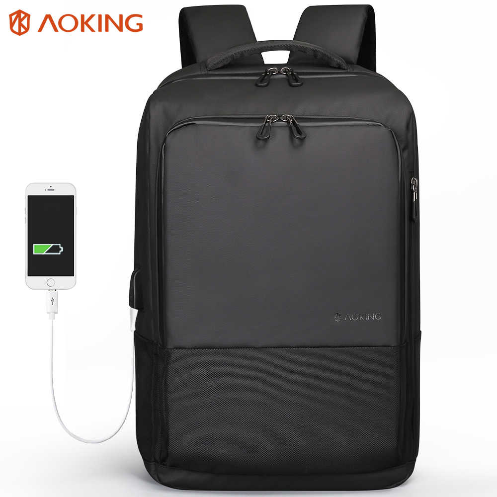 Aoking 2018 Top Fashion Men Backpack Simple USB Charging Water Resistance 15.6 Laptop Backpack College Student Rucksack Daypack