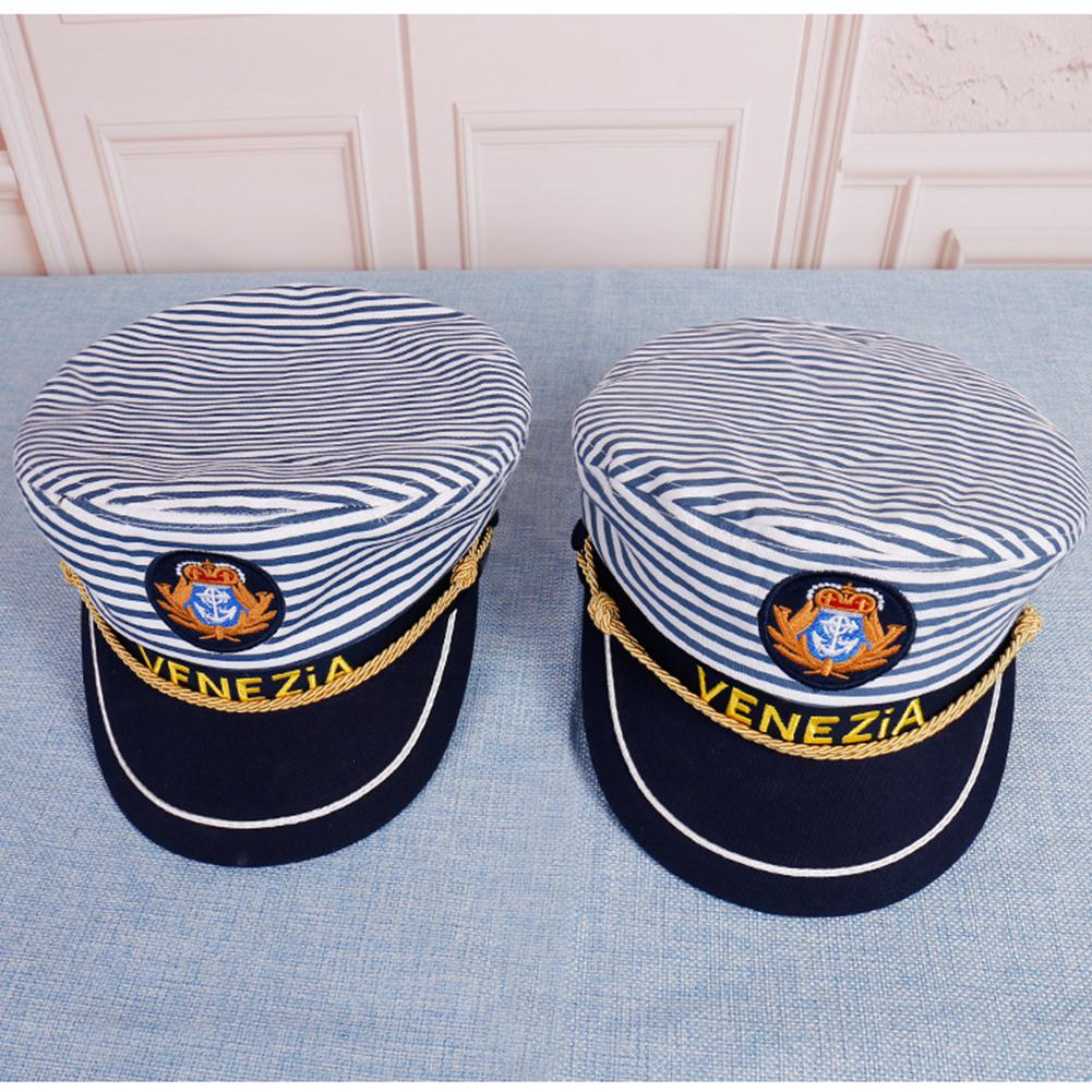 Stripe Military Cap Adjustable Stage Costume Army Caps Fashion Navy Sailor Marine Captain Hat For Man Women Children