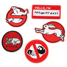 Round Red Badge Letter Patch Embroidered Patches for Clothing Iron on Clothes Military Badges Applique