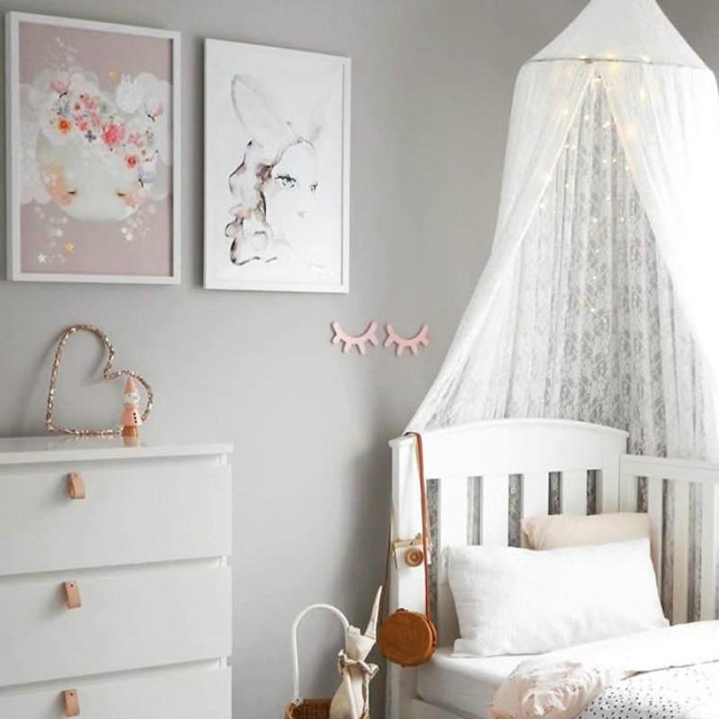 Nordique blanc dentelle princesse berceau filet décoration chambre d'enfants dôme rêve dôme lit rideau tente